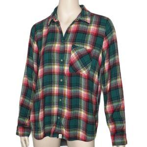 American Eagle Boyfriend Fit Plaid Tartan Shirt